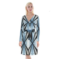 Dimension Metal Abstract Obtained Through Mirroring Long Sleeve Velvet Front Wrap Dress