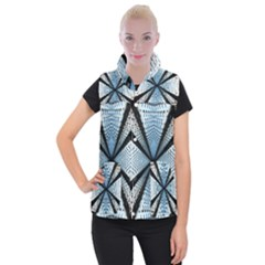 Dimension Metal Abstract Obtained Through Mirroring Women s Button Up Puffer Vest