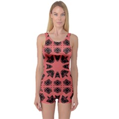 Digital Computer Graphic Seamless Patterned Ornament In A Red Colors For Design One Piece Boyleg Swimsuit