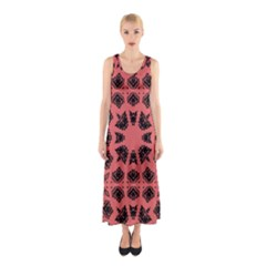 Digital Computer Graphic Seamless Patterned Ornament In A Red Colors For Design Sleeveless Maxi Dress