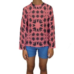 Digital Computer Graphic Seamless Patterned Ornament In A Red Colors For Design Kids  Long Sleeve Swimwear