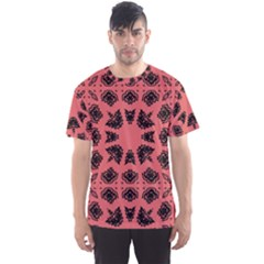 Digital Computer Graphic Seamless Patterned Ornament In A Red Colors For Design Men s Sport Mesh Tee