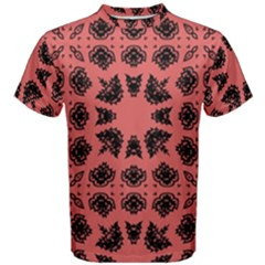 Digital Computer Graphic Seamless Patterned Ornament In A Red Colors For Design Men s Cotton Tee