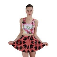 Digital Computer Graphic Seamless Patterned Ornament In A Red Colors For Design Mini Skirt