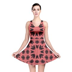 Digital Computer Graphic Seamless Patterned Ornament In A Red Colors For Design Reversible Skater Dress
