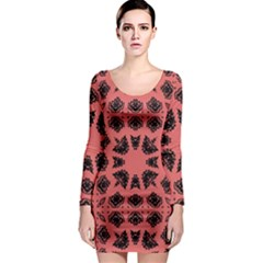 Digital Computer Graphic Seamless Patterned Ornament In A Red Colors For Design Long Sleeve Bodycon Dress