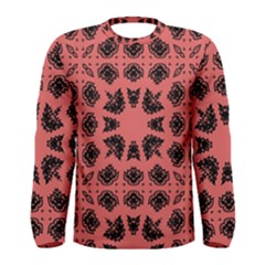 Digital Computer Graphic Seamless Patterned Ornament In A Red Colors For Design Men s Long Sleeve Tee