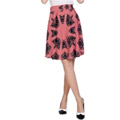 Digital Computer Graphic Seamless Patterned Ornament In A Red Colors For Design A-Line Skirt