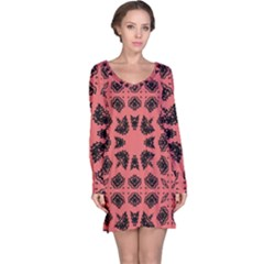 Digital Computer Graphic Seamless Patterned Ornament In A Red Colors For Design Long Sleeve Nightdress