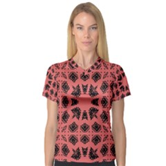Digital Computer Graphic Seamless Patterned Ornament In A Red Colors For Design Women s V Neck Sport Mesh Tee