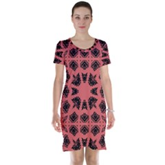 Digital Computer Graphic Seamless Patterned Ornament In A Red Colors For Design Short Sleeve Nightdress