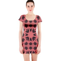 Digital Computer Graphic Seamless Patterned Ornament In A Red Colors For Design Short Sleeve Bodycon Dress