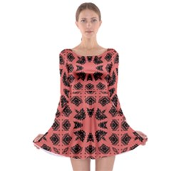 Digital Computer Graphic Seamless Patterned Ornament In A Red Colors For Design Long Sleeve Skater Dress