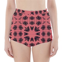 Digital Computer Graphic Seamless Patterned Ornament In A Red Colors For Design High Waisted Bikini Bottoms