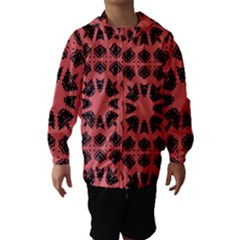 Digital Computer Graphic Seamless Patterned Ornament In A Red Colors For Design Hooded Wind Breaker (kids)