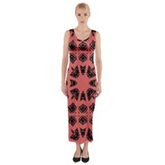 Digital Computer Graphic Seamless Patterned Ornament In A Red Colors For Design Fitted Maxi Dress