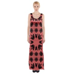 Digital Computer Graphic Seamless Patterned Ornament In A Red Colors For Design Maxi Thigh Split Dress