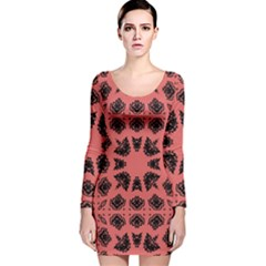 Digital Computer Graphic Seamless Patterned Ornament In A Red Colors For Design Long Sleeve Velvet Bodycon Dress
