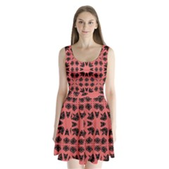 Digital Computer Graphic Seamless Patterned Ornament In A Red Colors For Design Split Back Mini Dress