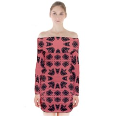 Digital Computer Graphic Seamless Patterned Ornament In A Red Colors For Design Long Sleeve Off Shoulder Dress