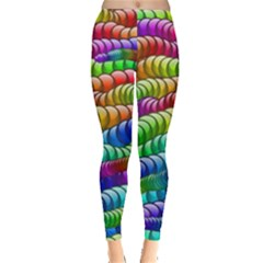 Digitally Created Abstract Rainbow Background Pattern Leggings