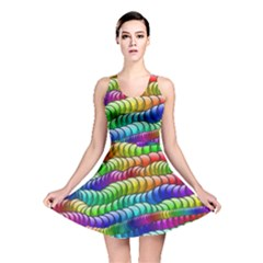 Digitally Created Abstract Rainbow Background Pattern Reversible Skater Dress