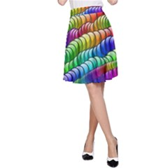 Digitally Created Abstract Rainbow Background Pattern A Line Skirt