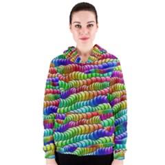 Digitally Created Abstract Rainbow Background Pattern Women s Zipper Hoodie