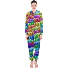 Digitally Created Abstract Rainbow Background Pattern Hooded Jumpsuit (ladies)