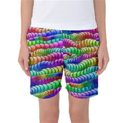 Digitally Created Abstract Rainbow Background Pattern Women s Basketball Shorts