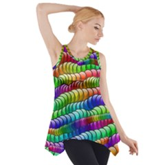 Digitally Created Abstract Rainbow Background Pattern Side Drop Tank Tunic
