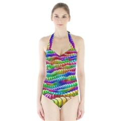 Digitally Created Abstract Rainbow Background Pattern Halter Swimsuit