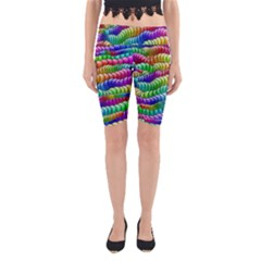 Digitally Created Abstract Rainbow Background Pattern Yoga Cropped Leggings