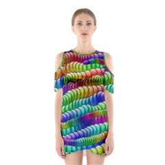 Digitally Created Abstract Rainbow Background Pattern Shoulder Cutout One Piece