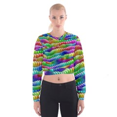 Digitally Created Abstract Rainbow Background Pattern Women s Cropped Sweatshirt