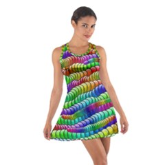 Digitally Created Abstract Rainbow Background Pattern Cotton Racerback Dress