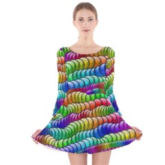 Digitally Created Abstract Rainbow Background Pattern Long Sleeve Velvet Skater Dress