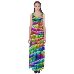 Digitally Created Abstract Rainbow Background Pattern Empire Waist Maxi Dress