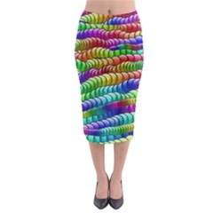 Digitally Created Abstract Rainbow Background Pattern Midi Pencil Skirt