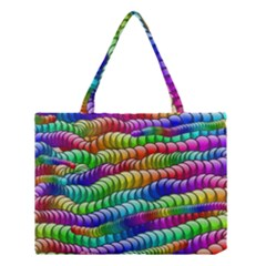 Digitally Created Abstract Rainbow Background Pattern Medium Tote Bag