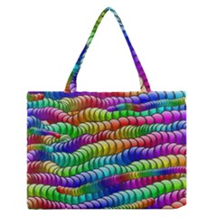 Digitally Created Abstract Rainbow Background Pattern Medium Zipper Tote Bag