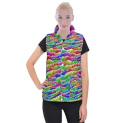Digitally Created Abstract Rainbow Background Pattern Women s Button Up Puffer Vest
