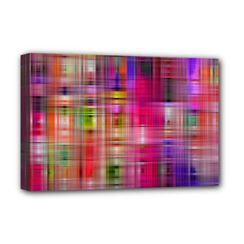 Background Abstract Weave Of Tightly Woven Colors Deluxe Canvas 18  x 12