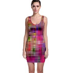 Background Abstract Weave Of Tightly Woven Colors Sleeveless Bodycon Dress