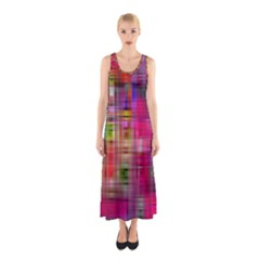 Background Abstract Weave Of Tightly Woven Colors Sleeveless Maxi Dress