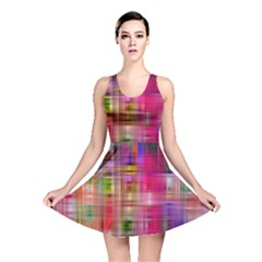 Background Abstract Weave Of Tightly Woven Colors Reversible Skater Dress