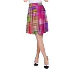 Background Abstract Weave Of Tightly Woven Colors A-Line Skirt