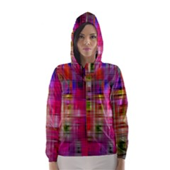 Background Abstract Weave Of Tightly Woven Colors Hooded Wind Breaker (Women)