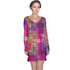 Background Abstract Weave Of Tightly Woven Colors Long Sleeve Nightdress