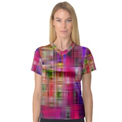 Background Abstract Weave Of Tightly Woven Colors Women s V-Neck Sport Mesh Tee